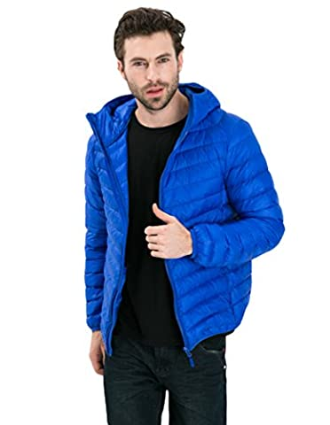 YOUJIA Mens Winter Warm Short Hooded Down Coat Packable Ultra Light Weight Down Jacket (Sapphire Blue,