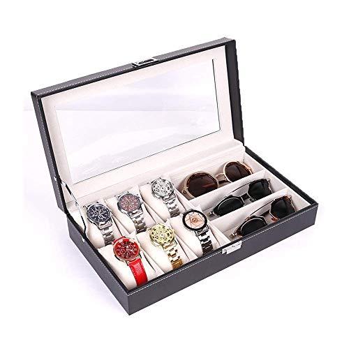 Uhr Schmuckschatulle Display Lagerung 6 Stück Uhrengehäuse und 3 Stück Brillen Lagerung Kunstleder Combo Schmuckschatulle und Sonnenbrille Vitrine Organizer, schwarzes Armband Box Case Tray