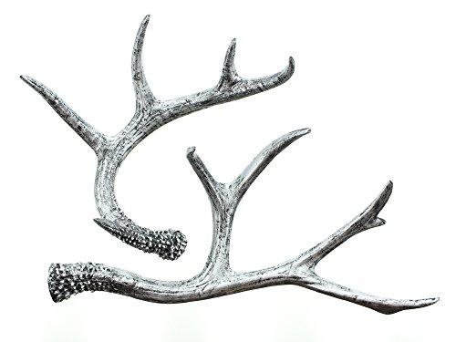 FRANK FLECHTWAREN Trendy Deko-Geweih Silber im Natural Chic (2er Set mit 1x 19cm und 1x 30cm)