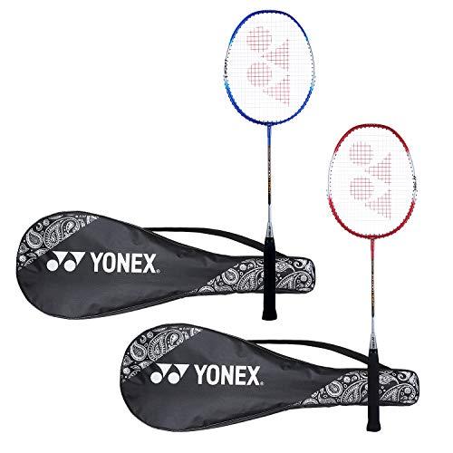 Yonex ZR 100 Light Aluminum Blend Badminton Racquet with Full Cover, Set of 2 (Blue/Red)