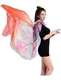 a87ece50a53c Xiang Ru Femme Foulard Longue Châle Écharpe Imprimé Soie Imitation ...