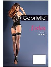 Gabriella Erotica Calze Linette Erotica Bas autofixants avec coutures et dentelle (1/2–XS/S, Bianco (Blanc))