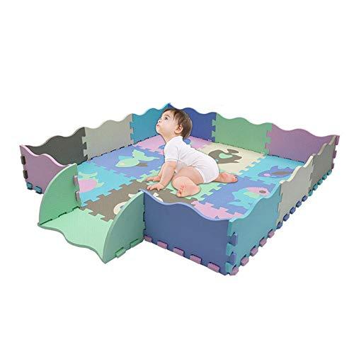 Luerme Baby-Schaumstoff-Spielmatte mit Zaun Große ineinander greifende Kriechmatte mit 23 Schaumstoff-Bodenfliesen für das Babyspielen -