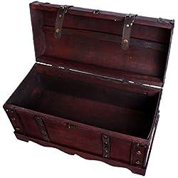 Cofre del Tesoro Cofre baúl Cofre del Tesoro Pirata Caja de madera con metal herrajes acabado antiguo Caja de madera baúl bar joyas Vino baúl Caja aspecto de madera caja joyas caja tamaño L SK002