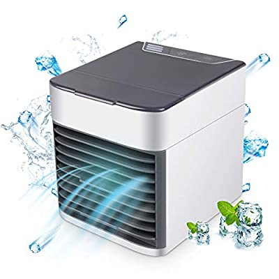 Air Cooler, 3-in-1 Small Air Conditioner Humidifier Purifier, 3 Fan Speeds 7 Colors LED Lights USB Personal Space Air Condition Cooler Portable Desktop Air Conditioning for Home Office Outdoor