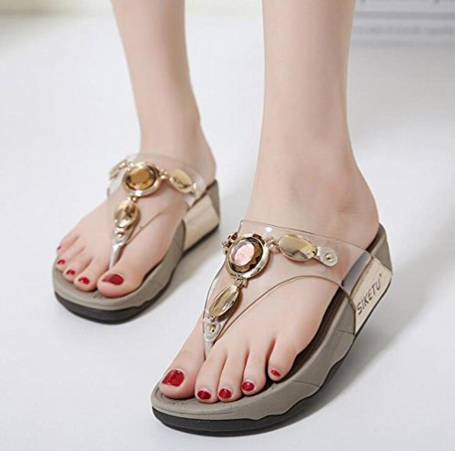 Flip Flop Pantofole Strass Decorazione Wearable 4cm tallone donne casual pantofole EU Taglia 35–40 arancione