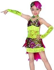 DESY Tenue(Bleu Vert,Dentelle Plumes,Danse latine)Danse latine- pourEnfant Frange (s) Spectacle Danse latine , l