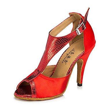 Ruhe @ Damen Leder Tanzschuhe Latin/moderne Sneakers geschoben Ferse Praxis Rot