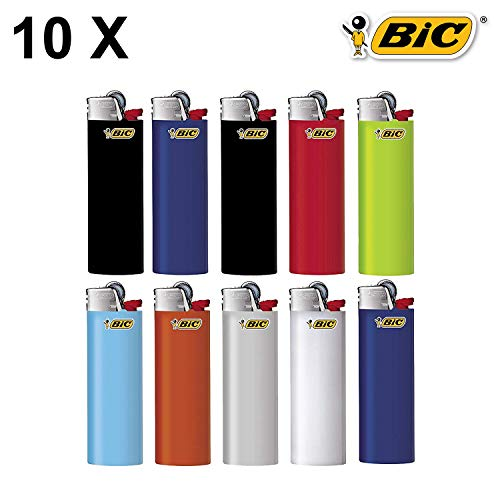 BIC Maxi Reibrad Feuerzeuge Neutral mit Zündstein (BIC Maxi J26) (10 Stück)