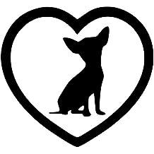 Chihuahua Aufkleber für Auto mit Herz Weiss