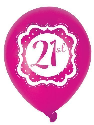 Perfectly Pink Froh 21st Geburtstag 25.4cm Latex Ballons x 6 (Gewicht Ballon 21st)