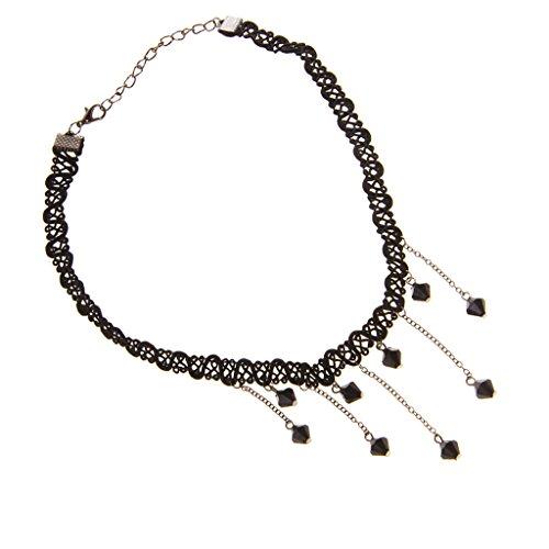 Weben Fringe (Frauen Vintage schwarze Spitze Weben Fringe Charme Perlen Anhaenger Laetzchen Halsband-Halskette)