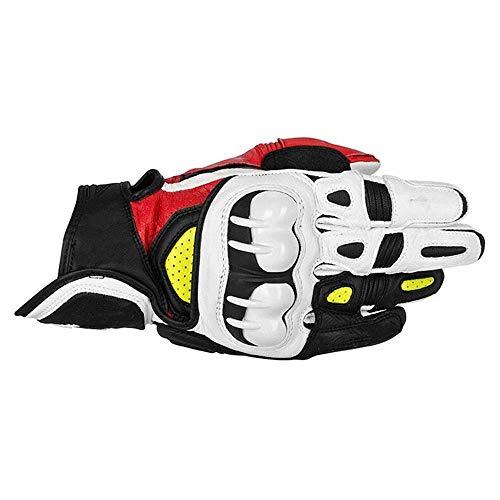 Splyj guanti da dito pieno guanti in pelle di fibra di carbonio guanti da corsa estivi guanti da equitazione per motociclisti (colore : white yellow, dimensioni : m)