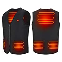 Haofy Verwarmd vest met USB-aansluiting, voor heren en dames, elektrisch verwarmd jack met 3 temperaturen, voor outdoor, wandelen, motorrijden, geschikt voor koud weer, winter en jacht.