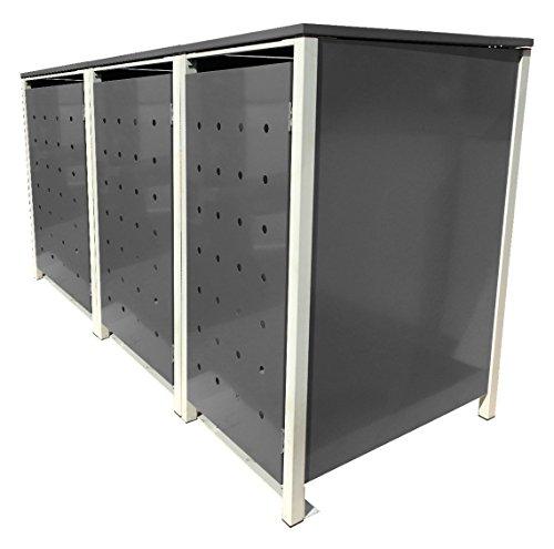 BBT@ | Hochwertige Mülltonnenbox für 3 Tonnen je 120 Liter mit Klappdeckel in Silber / Aus stabilem pulver-beschichtetem Metall / Stanzung 7 / In verschiedenen Farben sowie mit unterschiedlichen Blech-Stanzungen erhältlich / Mülltonnenverkleidung Müllboxen Müllcontainer - 2