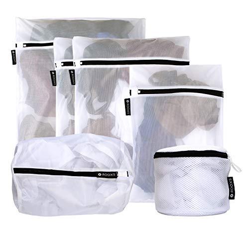 Rooxs Profi Wäschenetz Set (6 Teile) mit Reißverschluss für Waschmaschine und Trockner, Wäschenetze Feinmaschig, Wäschesack Faltbar, Waschsäcke ideal für Kleidung, Unterwäsche und Socken -