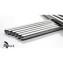 Makidar 10 pares de 304 palillos de acero inoxidable antideslizante Anti-hot palos de diseño de vacío