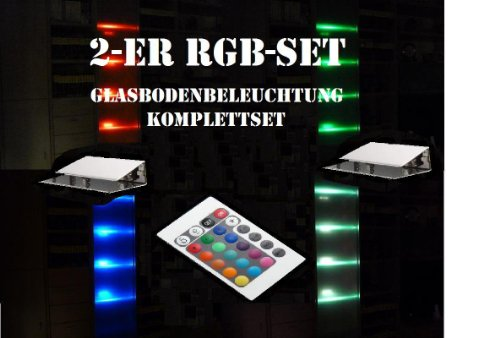 40mm LED 2-er RGB-Glasbodenbeleuchtung-Komplett-Set +Trafo+RGB-Controller+Fernbedienung