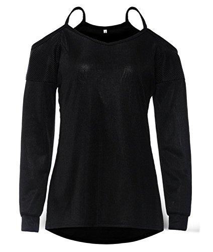 SHUNLIU TOPS Women's Loose Off The Shoulder Long Sleeve Black Sweater from Schwarz