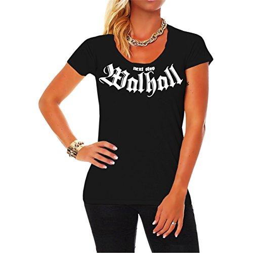 Donne e T-shirt da donna next stop Valhalla con tasche posteriori stampa