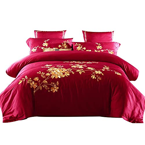 A-Lnice 100% Baumwolle Blatt Set - Full Sheets - 4-teiliges Set, federweiche, Tiefe Tasche (Color : Red, Size : 200x230cm) (Red-queen-blatt Set Tiefe Taschen)