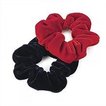 Juego de con diseño de 2 color rojo y negro y de la marina de guerra para el pelo Bobbles para el pelo de terciopelo con cierre de sensación de gomas de correas elásticas para