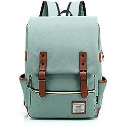 Minetom Casual Escuela Unisex Moda Vintage Mochila Backpack Rucksack Mochila Escolar para Ordenador Portátil Verde Claro 16 Pulgada