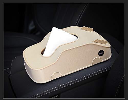 QIA Auto Taschentuchbox, Multifunktions-Auto ABS Papierhandtuch Papier-Organizer mit Handy-Kartenhalter, geeignet für Auto Zuhause und Büro, beige