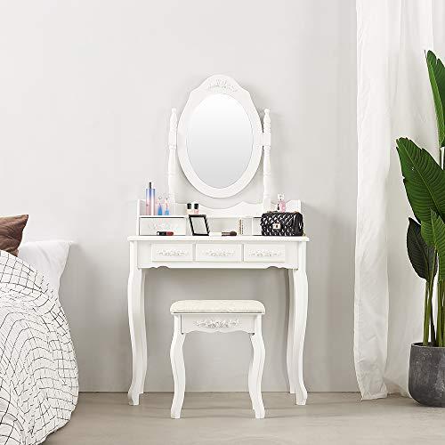 Panana - Tocador Blanco de Madera con Espejo y 5 Cajones Almacenaje Cosméticos Maquillaje Dormitorio (Blanco)