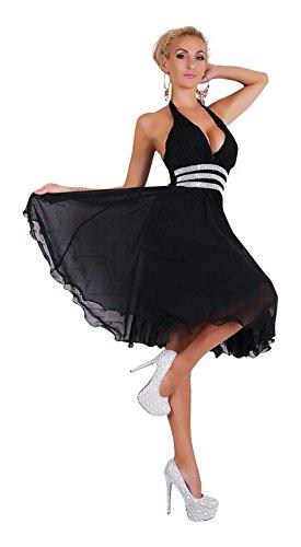 Neckholder Abendkleid mit Strass Abiballkleid Cocktailkleid Chiffon Petticoat Kleid schwarz S