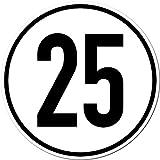 2 Stück 20cm Aufkleber Sticker 25 km/h kmh Geschwindigkeit Auto Pkw Bus Lkw Anhänger Schild