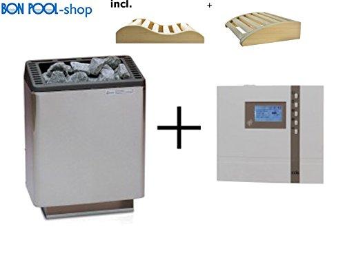 Preisvergleich Produktbild Saunaofen Euro 7, 5 kW mit ECON D2 Saunasteuergeraet Finnisch EOS Sauna und 2 Kopfkeile BONPOOL
