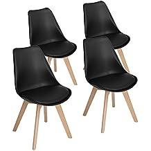 eggree lot de 4 chaises de cuisine en bois rtro tulip rembourre chaise de salle - Chaise Scandinave Noir