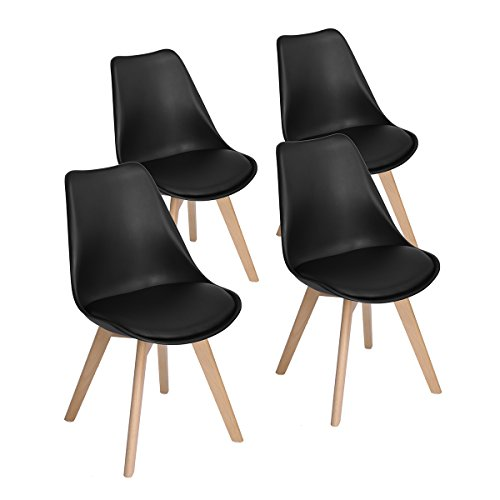 4er Set Esszimmerstühle mit Massivholz Bein, Retro Design Gepolsterter lStuhl Küchenstuhl Holz, Weiß