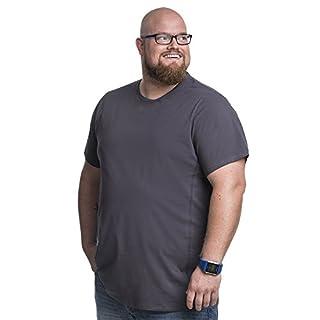 2XL T-Shirt für Männer mit Übergröße Bauchumfang Herren Rundhals Basic Tshirt Übergrößen. 2XL-B (für Bauchumfang 120-128 cm) Grau