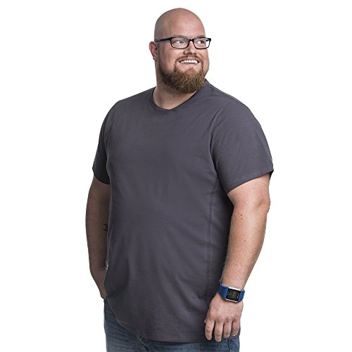 Alca Fashion 5XL T-Shirt Herren Rundhals Doppelpack Basic | 2 Stück Tshirt Übergrößen für Männer mit Übergröße Bauchumfang 145-150 cm, Grau