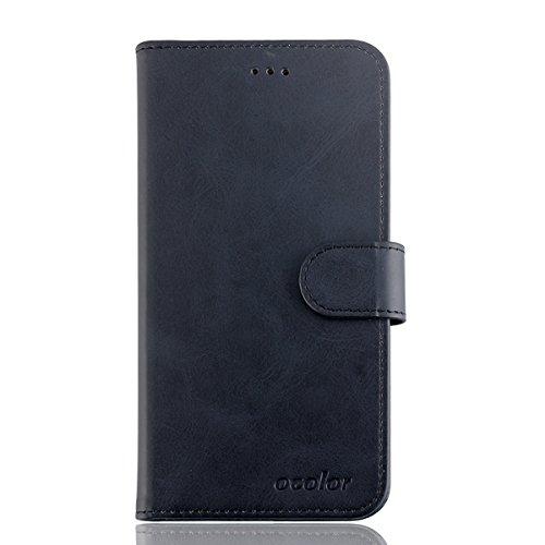 95Street Handyhülle für UMIDIGI ONE MAX Schutzhülle Book Case für UMIDIGI ONE MAX, Hülle Klapphülle Tasche im Retro Design mit Praktischer Aufstellfunktion - Etui Schwarz