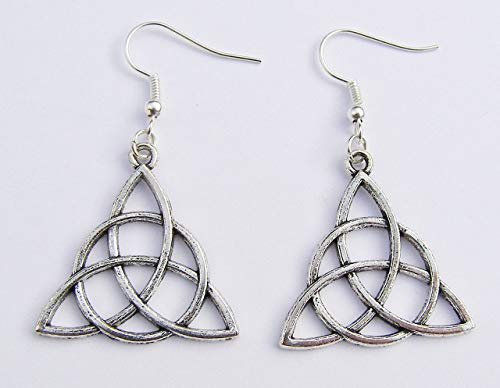 Silver Colour Celtic Knot Earrings, Silver Hooks, 3 cm Drop Hand Made -