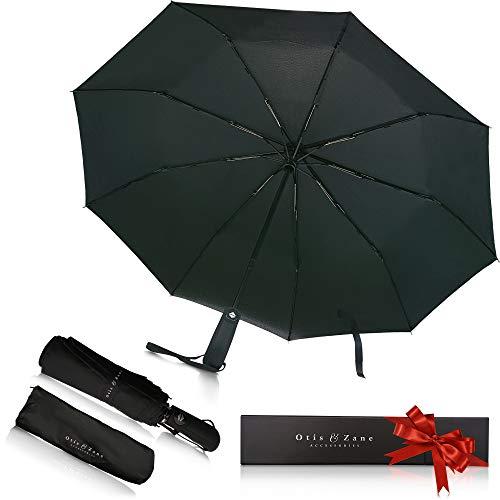 Luxus Taschenschirm Automatik mit Teflon-Beschichtung OTIS & ZANE - sturmfest bis 140 km/h Klein, Leicht, Mini, Kompakt, Stabil, windsicher Premium (schwarz), Regenschirm, Schirm