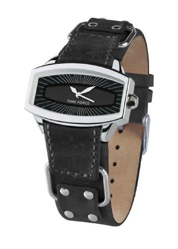Time Force - TF2996L01 - Montre femme - Quartz Analogique - Cadran Noir - Bracelet en Cuir Noir