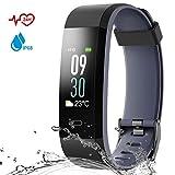Danloryu Fitness Armband Wasserdicht IP68 Fitness Tracker mit Pulsmesser Farbbildschirm Aktivitätstracker Schrittzaehler Uhr Smart Armbanduhr Fitness Uhr für Damen Herren (Schwarz)