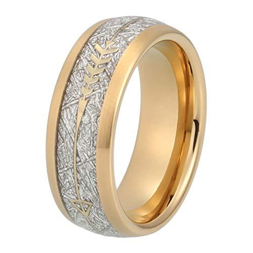 ZHOUYF RING Verlobungsringe Gold Ehering Männer Frauen Wolfram Ring Mit Gold Stahlpfeil Und Weißer Meteorit Inlay, 10#