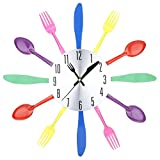 Multi-color Fork Spoon Knife Kitchen Cutlery Wall Clock Home Decor