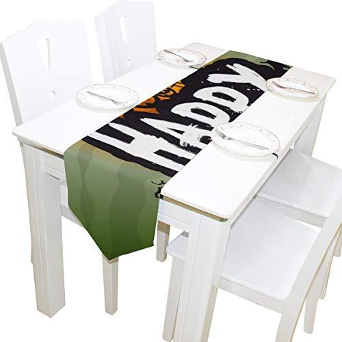 Yushg Happy Halloween Fancy Party Kommode Schal Tuch Abdeckung Tischläufer Tischdecke Tischset Küche Esszimmer Wohnzimmer Haus Hochzeit Bankett Dekor Indoor 13x90 Zoll (Halloween Bars Für Flyer)