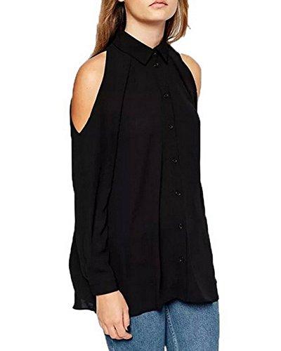 Donna Spalla Off Bluse Maglie A Manica Lunga Sciolto Camicie Lungo T Shirt Tops Nero