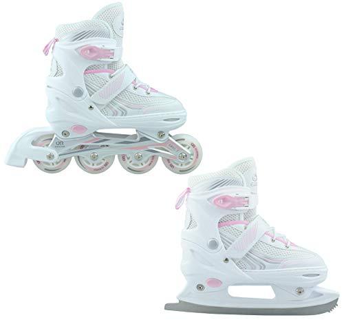 Croxer 2in1 Schlittschuhe Inline Skates Inliner Optima White/Pink verstellbar (35-38(22cm-24cm))
