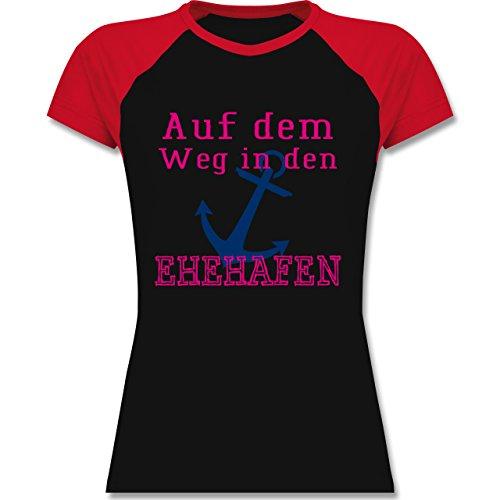 JGA Junggesellinnenabschied - Auf dem Weg in den Ehehafen - zweifarbiges Baseballshirt / Raglan T-Shirt für Damen Schwarz/Rot