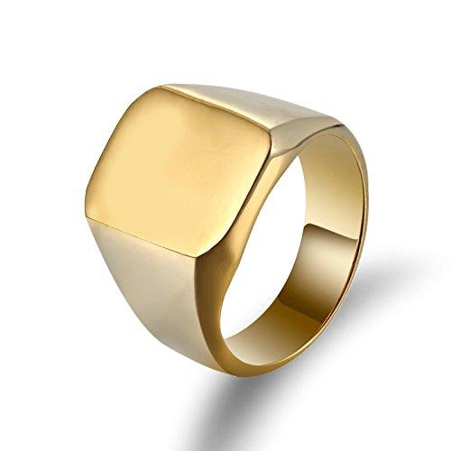 Aooaz Gioielli anello fascia anelli acciaio Polished Square Shaped anelli da uomo anello gotico Oro Dimensione italiana 22