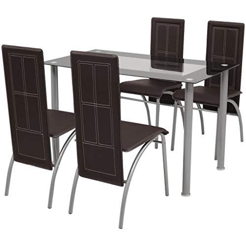 Festnight- Fünfteilige Essgruppe Esstisch und 4 Stühle Set Sitzgruppe Tischgruppe Küchentisch mit 4 Stühlen |1 Tisch & 4 Stühle | Braun