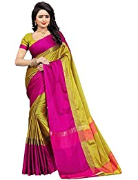 High Glitz Fashion Women's Yellow & Pink Color Poly Cotton Sari With Blouse Piece